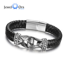 Genuine Leather Bracelets For Men Jewelry Accessorise Stainless Steel Bracelets & Bangles (JewelOra BA101883)(China)