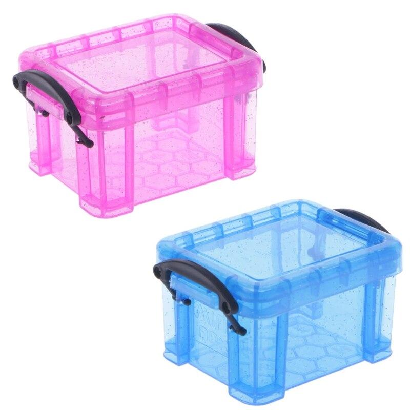 Mini Clear Lock Case Cute Plastic Candy Storage Box With