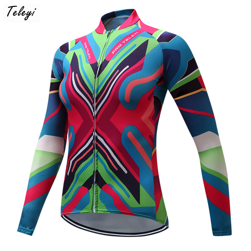 Teleyi Pro Team Racing Bicycle Cycling Clothing Polyester Autumn Cycling Jersey Women Long Sleeve mtb Bike Jersey Ropa Ciclismo new original kyocera 302mh94070 scanner pwb for fs 1030 1130 1035 1135