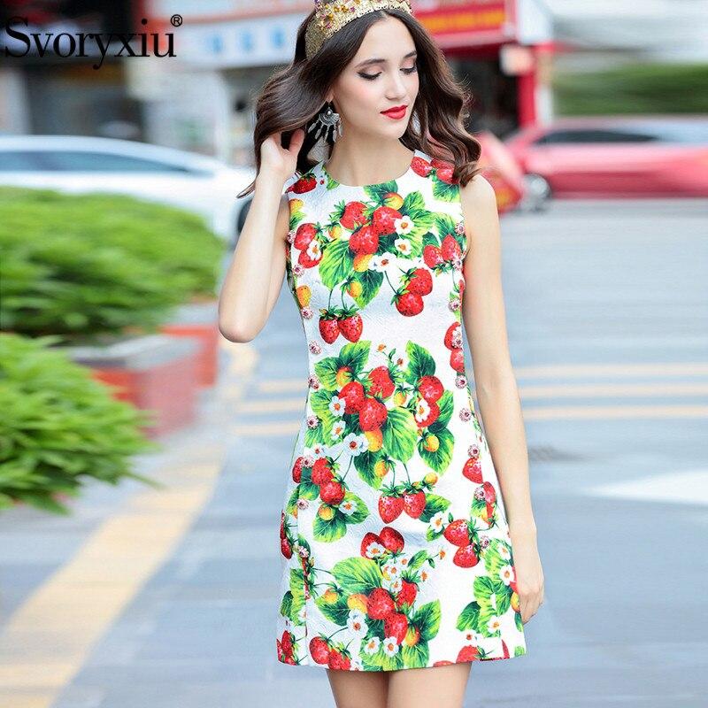 Svoryxiu Fashion Runway Autumn Tank Mini Dress Women s Gorgeous Diamonds Double Breasted Strawberry Printed Party