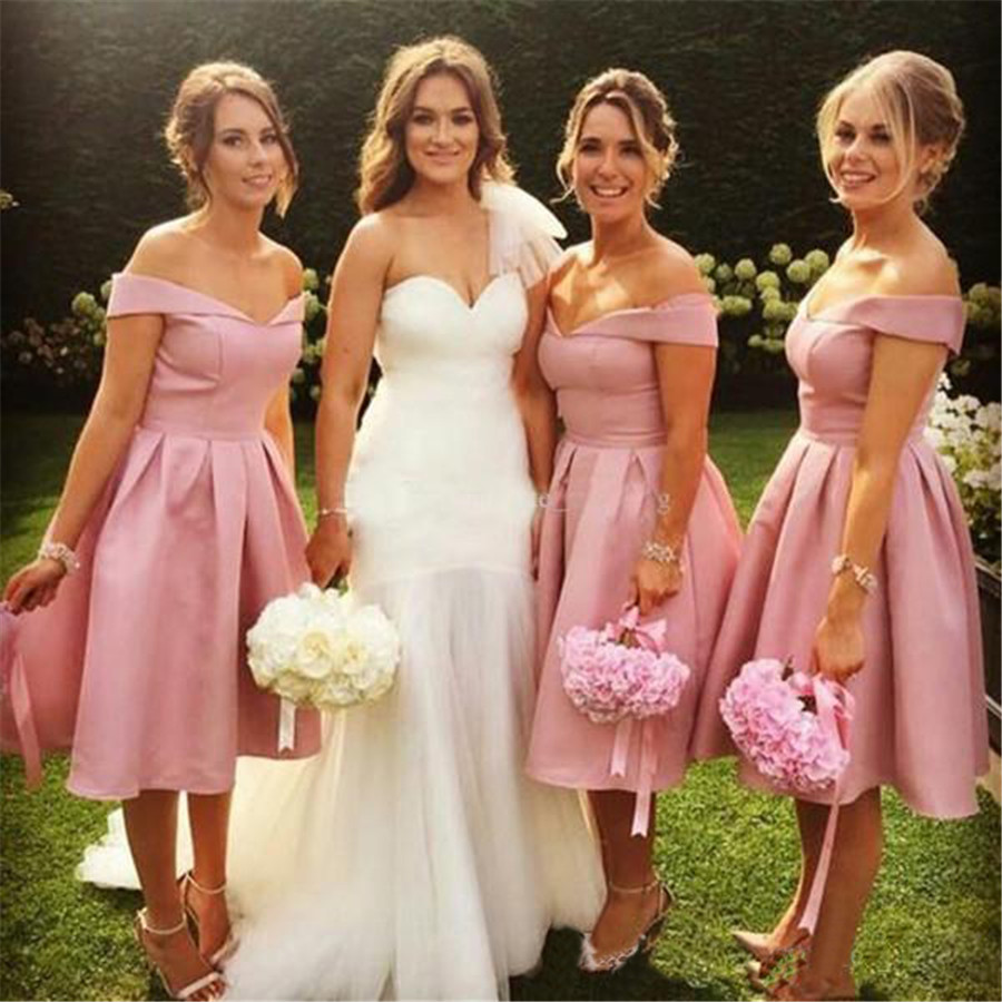 Short   Bridesmaid     Dresses   2019 Boat Neck Off The Shoulder Knee Length Simple Satin Wedding Party Gowns Cheap Maid Of Honor   Dress