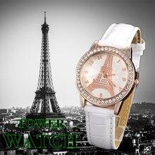 Eiffel Tower Women Watches Crystals Stone Vintage Quartz Female Ladies Wristwatch Fashion Casual Leather Major Watch Clock