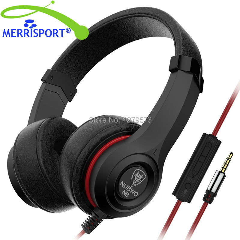MERRISPORT Headphones Headsets with In-line Mic and Volume Control Cute Earphones for Cellphone Smartphone Iphone Computer Black