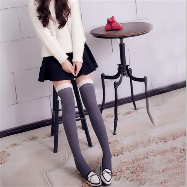 f2bee5f86a3de European Style Woman Fashion Thigh High Socks Winter Striped Knitting Over  Knee Sexy Lace Butterfly Knot