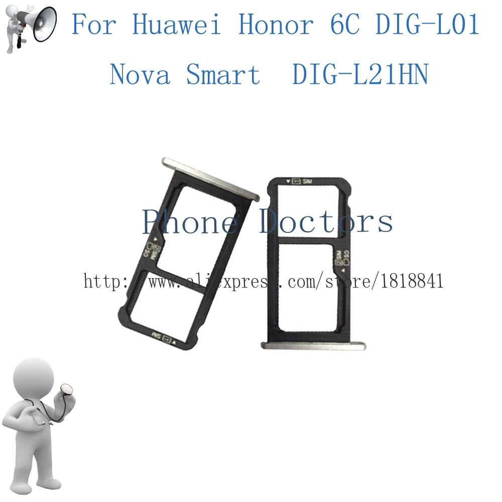 For Huawei Honor 6C DIG-L01 / Nova Smart DIG-L21HN Sim Card Tray Micro SD Card Holder Slot Adapter Parts Sim Card Adapter