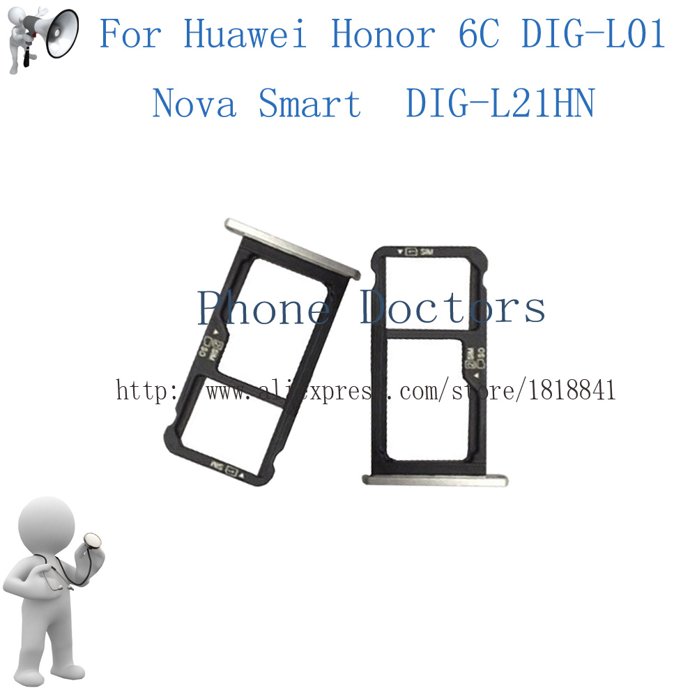 For Huawei Honor 6C DIG-L01 / Nova Smart DIG-L21HN Sim Card Tray Micro SD Card Holder Slot Adapter Parts Sim Card Adapter