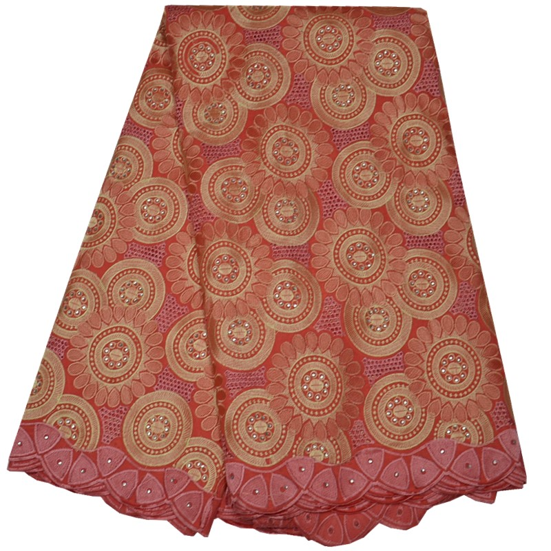 Free shipping african lace fabric peach color swiss cotton