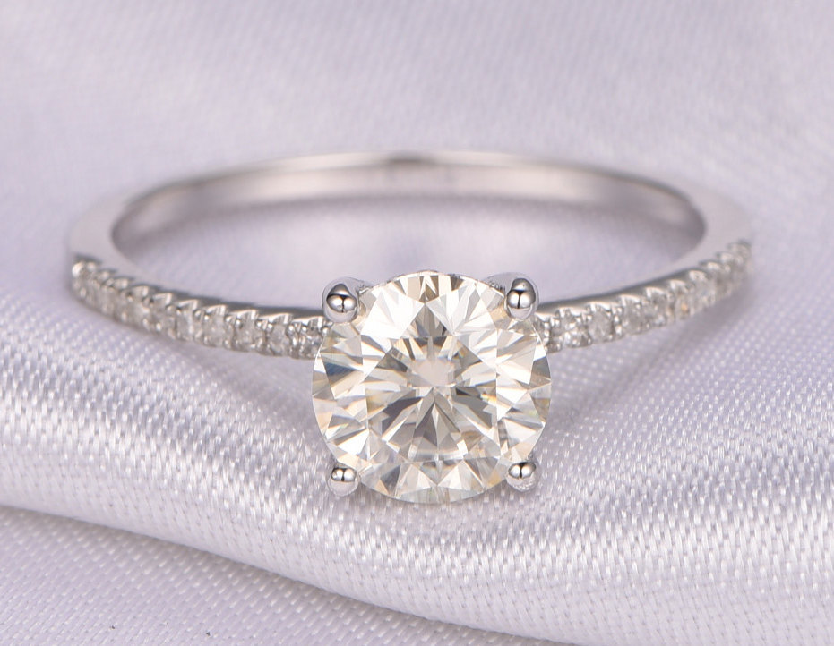 b052affa9c0fc5 Forever Brilliant Moissanit Engagement ring 7mm Round Cut Moissanite Ring  14k White gold diamond Wedding Band Solitaire Ring