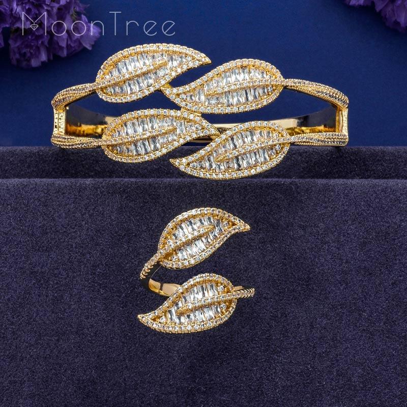MoonTree Luxury Leaf AAA Cubic Zirconia AAA Cubic Zirconia Gold Color Women Bracelet Bangle Ring Set Dress Jewelry SetsMoonTree Luxury Leaf AAA Cubic Zirconia AAA Cubic Zirconia Gold Color Women Bracelet Bangle Ring Set Dress Jewelry Sets