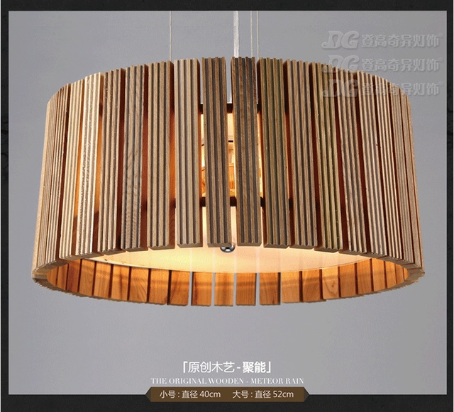 Europe Style Solid Wooden Dining Room Chandelier Round Cafe Decoration Light D400 520mm Ac09