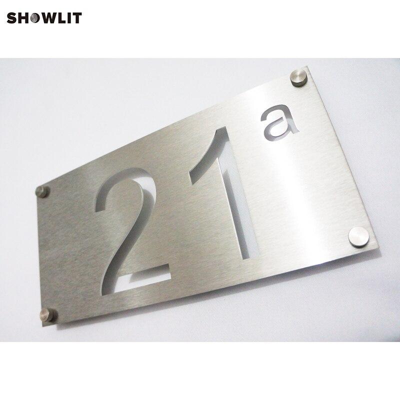 Plaques d'adresse en acier inoxydable en métal et chiffres disponibles sur mesure