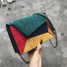 Female Fashion Vintage Suede leather Crossbody Chain Bags for Women Panelled Patchwork Nubuck Shoulder Bag Small Messenger Purse