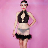 Women Sexy Fashion Hollow Out Halter Dress Black Feathers Rhinestones Short Dress Nightclub Party Bar Singer Host Stage Costumes