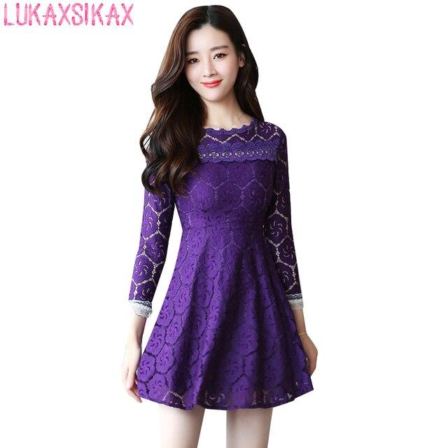 90f928c16bbc9 2017 Yeni Sonbahar Kadınlar Uzun Kollu Mini Elbise Kore Moda Katı Renk  Jakarlı Dantel Pist Elbise