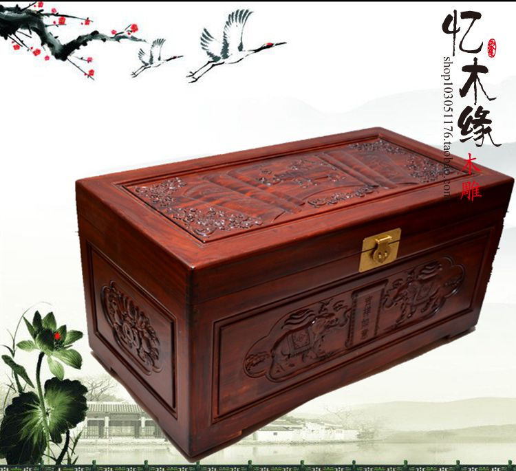 Camphor wood box wedding dowry box suitcase wood carved antique calligraphy and painting auspicious insect storage box camphor wood furniture carved wooden suitcase special offer and marriage dowry box storage box box manufacturers selling