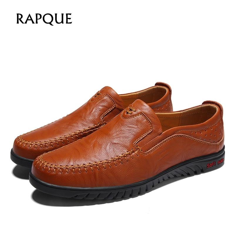 Men loafer casual shoes flats men genuine leather shoe footwear Driving Walking fashion black brown khaki drop shipping big size men s fashion casual cotton pants brown size 33