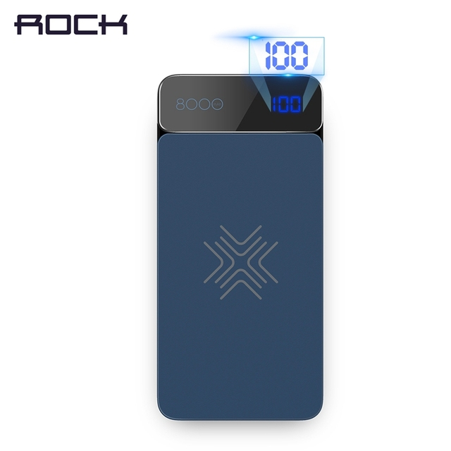 ROCK 8000mah Wireless Charger Power Bank For iPhone X 8 plus, ROCK Portable Wireless Charging External Battery PowerBank
