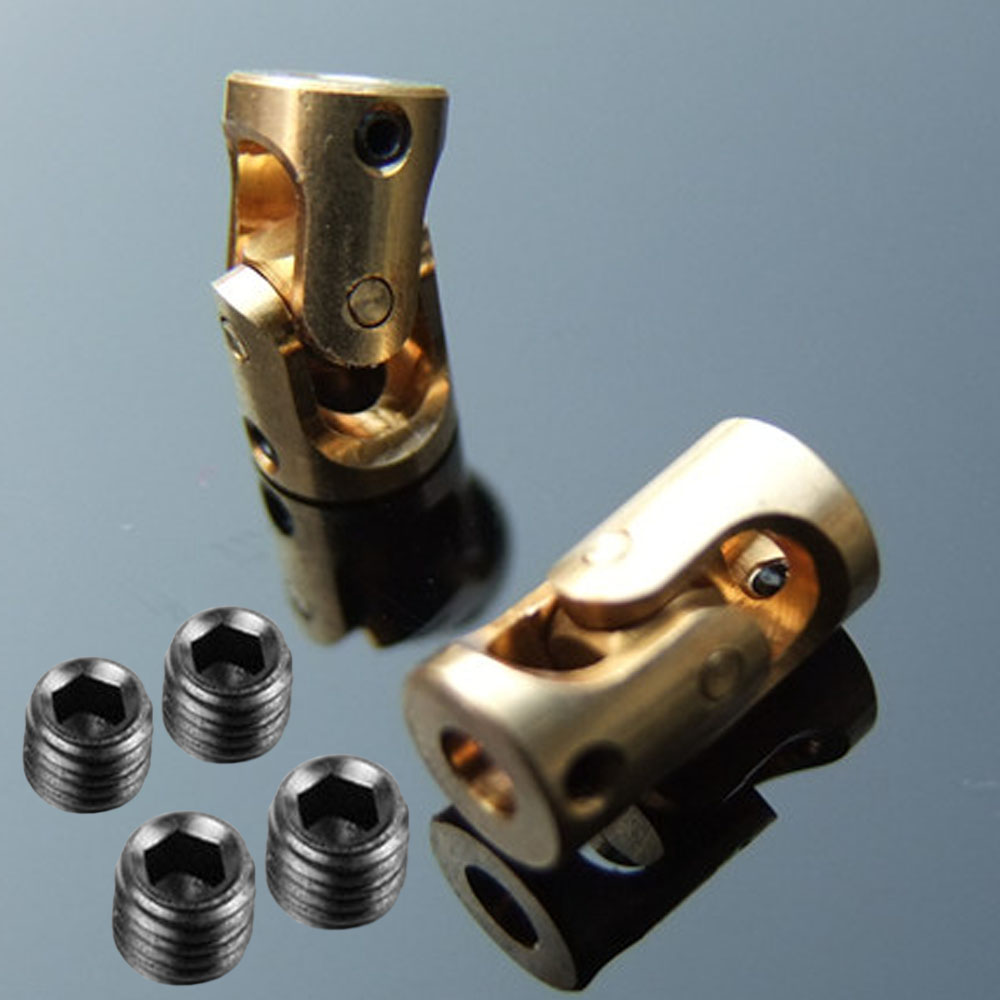 2pcs Copper Universal Joint Coupling Model Boat Scale Motor Coupler Diameter 7mm Length 13mm 3mm*3mm 10mmx10mm od24mm l55mm single universal joints coupling stainless steel connector crossing coupler rc car boat model wholesale