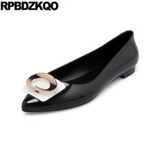 556b1f5d69b35 Latest Metal Transparent Large Size Flats Designer Women Pointed Toe Jelly  Black Pink Korean Slip On Cheap Shoes China Buckle