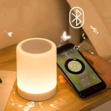 Portable Rechargeable Bluetooth Speaker LED Bedside Table Lamps Touch Desk Lamp Night Light Bedroom Music Touch Lamp Alarm Clock(China)