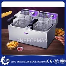 Коммерческих сковорода жареной тесто прилипает машина жареные чипсы фритюрница 24l двойной корзины жарки Фрайер машина