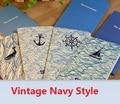 173*90mm Vintage sea dream series navy style Kraft Paper notebook Korea style agenda Diary blank inner planner retail