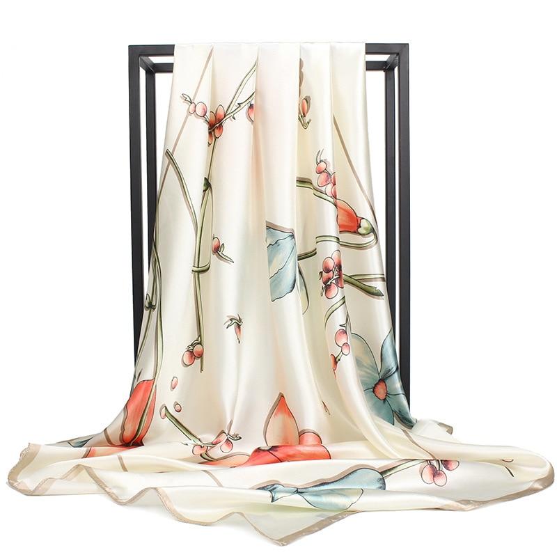 YILIAN 90cm*90cm Women Fashion   Scarf   Luxury Brand Floral Hijab Silk Satin Shawl Scarfs Foulard Square Head   Scarves     Wraps