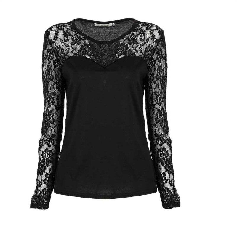 Сексуальные женщины кружева с длинным рукавом рубашки дамы o-образным вырезом одежда стрейч-футболка Топы #6128
