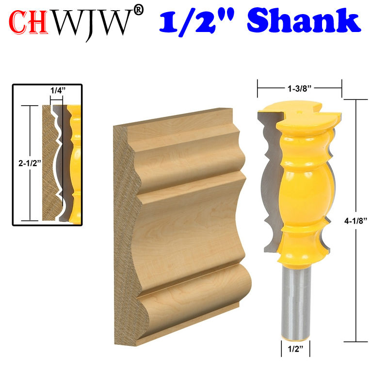 1Pc 1/2 Shank Crown Molding - Oversized 2 1/2 Router Bit Line knife Woodworking cutter Tenon Cutter for Woodworking Tools 1pc 1 2 shank crown molding router bit extender tenon cutter for woodworking tools