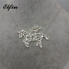 Купить с кэшбэком 4 Colors Origami Unicorn Necklace Flying Horse Charm Female and Male Gift Necklace Fashion Women Jewellery Geometric Jewellery