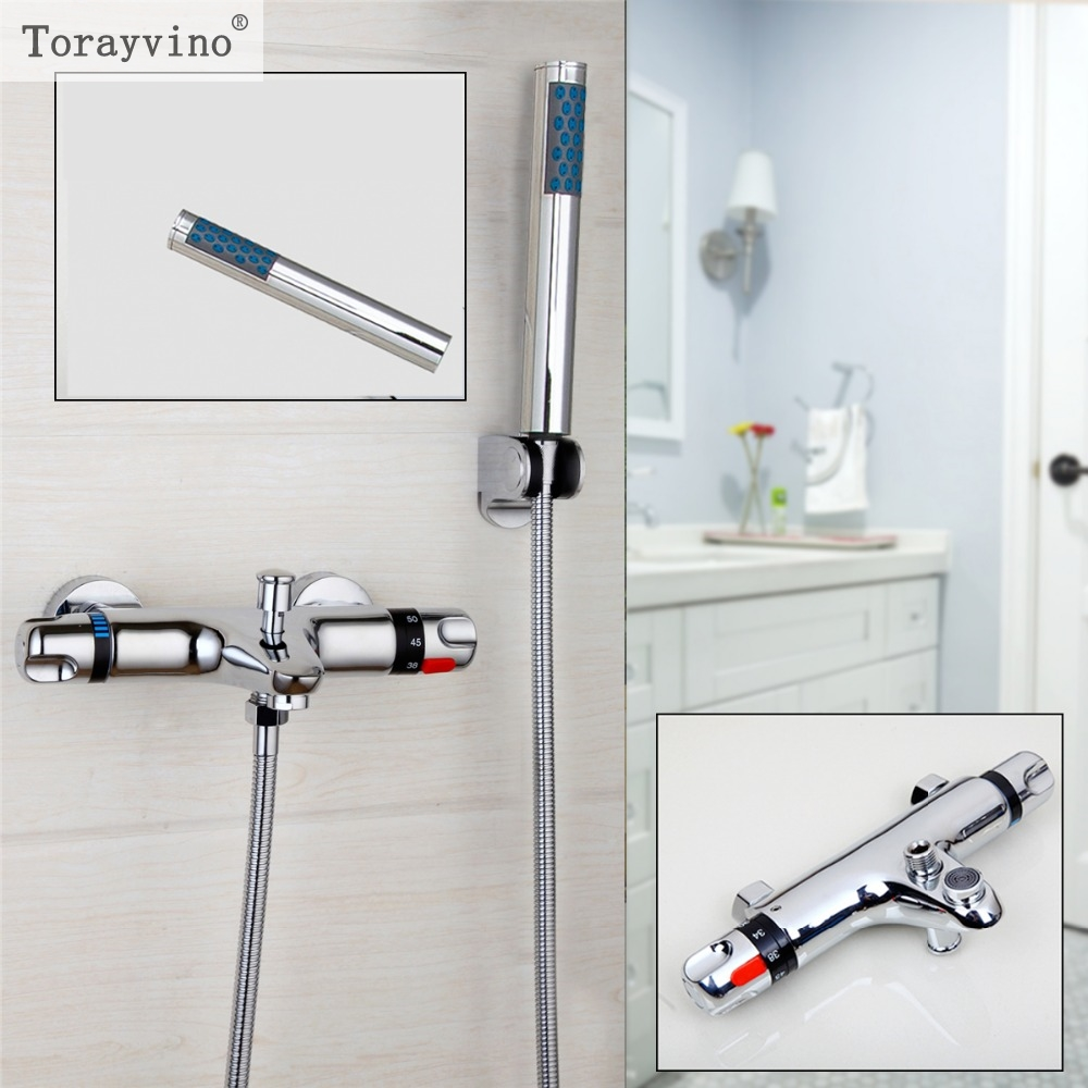 Torayvino Rainfall Shower Shower Faucet Set Mixer Tap With Double Hand Wall Mounted Bathtub Shower Set Bathroom Mixer Faucet chrome polished rainfall solid brass shower bath thermostatic shower faucet set mixer tap with double hand sprayer wall mounted
