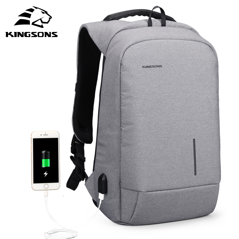 Kingsons 2017 New Men Backpack with Sucker &USB Charge Laptop Backpack 13.3/15.6 inch Women School Bags for Teenagers Boys Girls