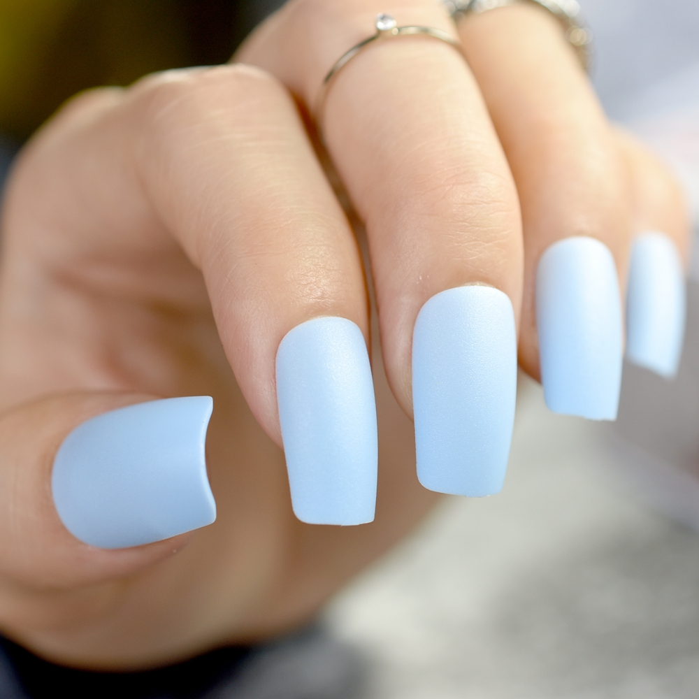 Sky blue Fake Nails Matte Full Nails Long Nail Art Decoration Tips ...