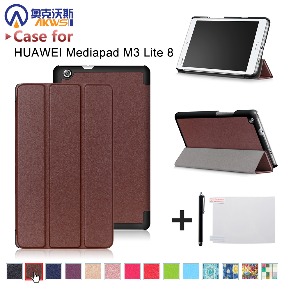 Funda stand case for Huawei Mediapad M3 Youth Lite 8 CPN-W09 CPN-AL00 8 ultra slim magnetic cover case+free stylus+free film for 2017 huawei mediapad m3 youth lite 8 cpn w09 cpn al00 8 tablet pu leather cover case free stylus free film
