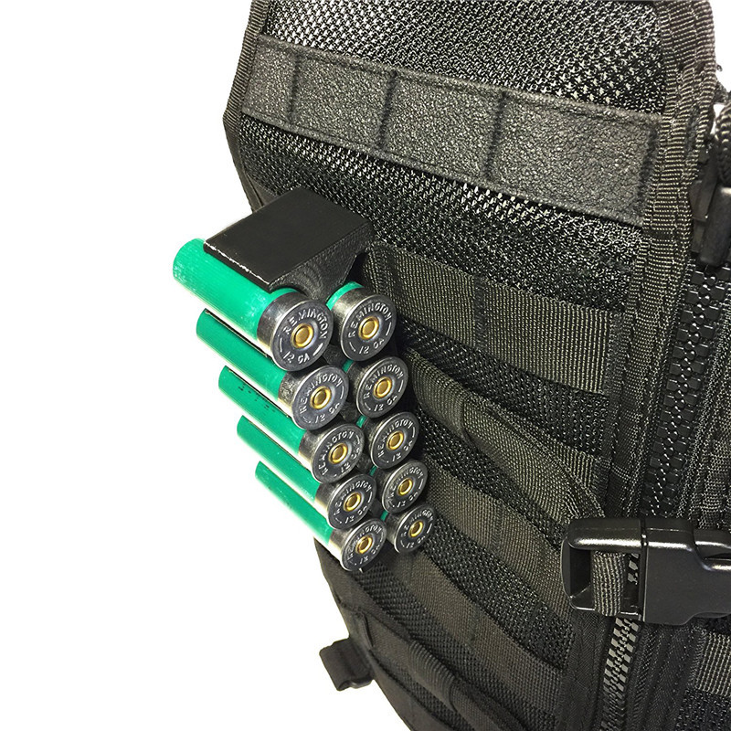 Tactical Molle Magazine Pouch 12GA Shotgun Shell Ammo Carrier 10 Round with Clip 12 Gauge Shell Holder Military Accessories-in Pouches from Sports & Entertainment
