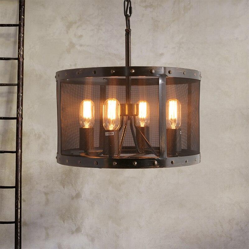 style loft retro lamp led pendant lights creative 6 heads lampen vintage industrial iron hanging