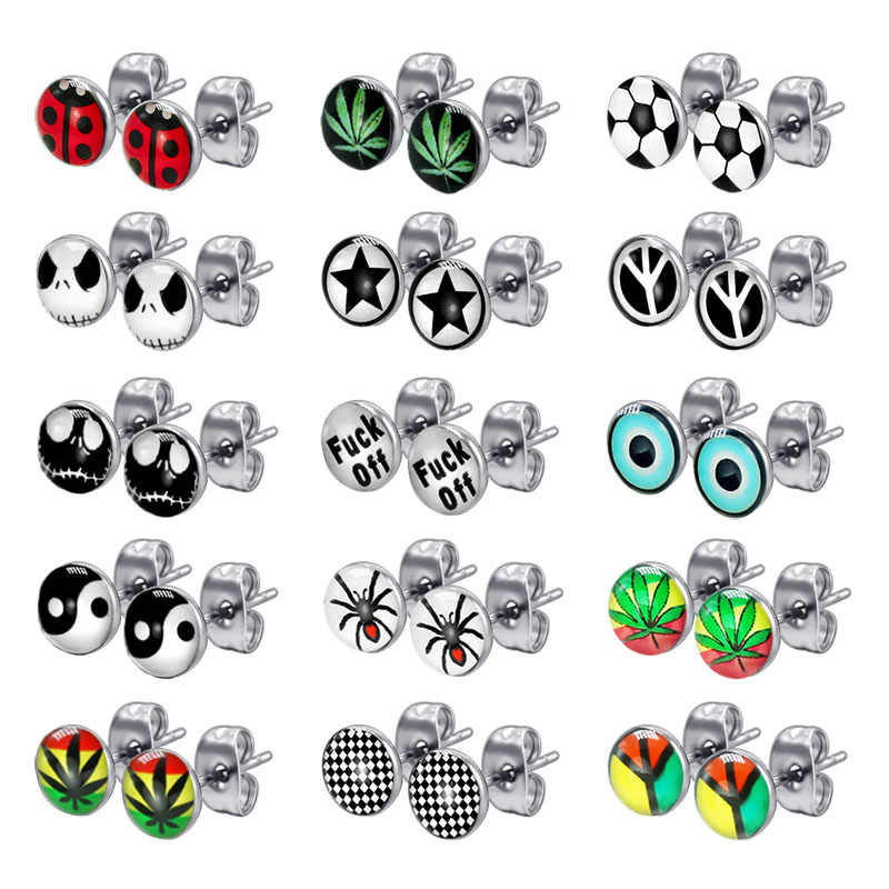 1Pair Small Ear Studs Earrings Stainless Steel Oil Drip Carton Skull Ladybug Lovely Brincos For Boys Girls Women Anti-allergic