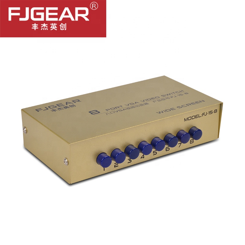 VGA Switch VGA Switch Splitter 8 In 1 Out Support 1920*1440 250MHz For PC Monitor TV Projector Metal