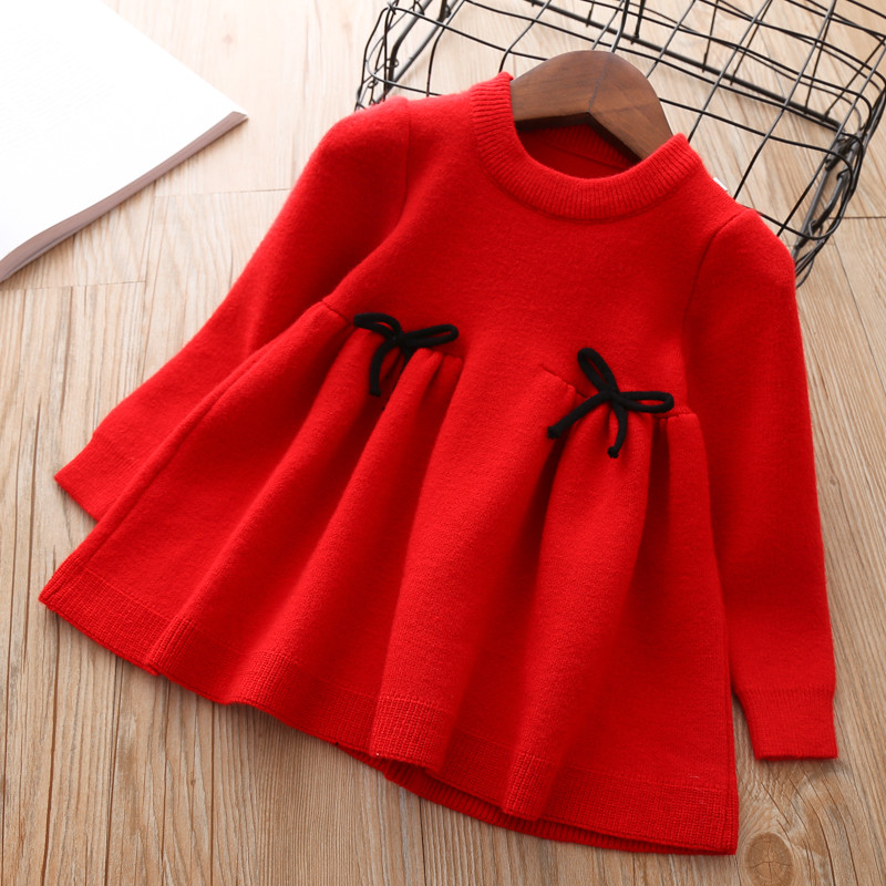 Baby Fall Dress for Girls Toddler Sweater Tops kids autumn knitted Clothes thick Dresses Teens Cute Christmas Shirt 1 2 3 years kids winter clothes age for 2 8 years girl clothes thick warm baby pullover 2018 new autumn cute bow sweater back to school tops