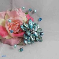 Unique Pearls jewellery Store,Handmade Natural Freshwate Pearl Real Shell Crystal Beads Brooch,Blue Color Flower Brooches