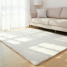 Ковер для гостиной, однотонный ковер, пушистый мягкий домашний декор, белый плюшевый ковер для спальни, ковер для кухни, белый ковер