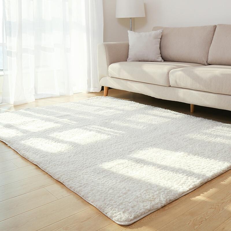 Living Room Rug Area Solid Carpet Fluffy Soft Home Decor White Plush Carpet Bedroom Carpet Kitchen Floor Mats White Rug Tapete(China)