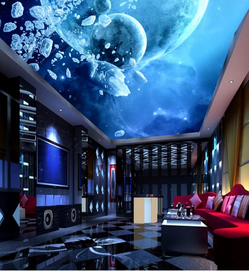 3D Wall Ceiling Wallpaper Home Decor Star Galaxy Photo Wallpaper For Living room Ceiling Murals ...