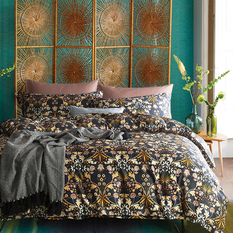 Luxury 60S Egypt Cotton Printed twilight garden Bedding Set Silky Soft Duvet Cover Bed Sheet Pillowcases Queen King size 4PcsLuxury 60S Egypt Cotton Printed twilight garden Bedding Set Silky Soft Duvet Cover Bed Sheet Pillowcases Queen King size 4Pcs