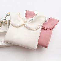Koreański Różowy Dzieci T Koszula Dziewczyny Bluzka Bluzki Casual Jesień Peter Pan Collar Długim Rękawem Dla Dzieci Dziewczyny T Shirt Dla Dzieci Ubrania