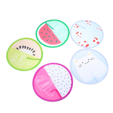 1PC Fruit Round Folding Fan Portable Mini Hand Held Fans Summer Cooling
