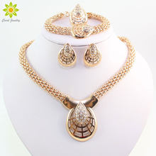 African Beads Jewelry Sets Collar Statement Necklace Earrings Bracelet Rings For Women CZ Crystal Wedding Party Accessories(China)