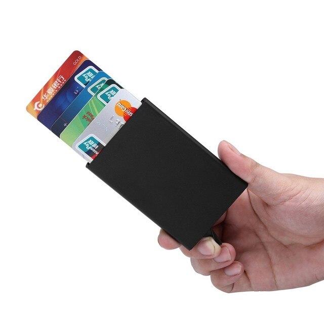 DULUDA Titulaire De La Carte De Crédit Solide Couleur Métal Banque - Porte carte bleue