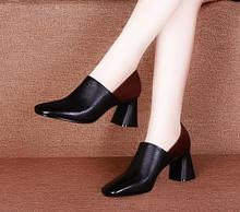 Europe and the United States square head with a single shoes female 2018 autumn new fashion exquisite wild women's shoes