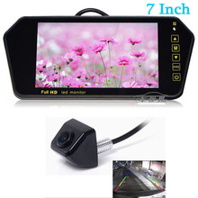 цена на 2018 Newest 7 inch Car Rearview Mirror Monitor Auto Parking Vedio + Backup Reverse Camera CCD Car Rear View Camera Parking